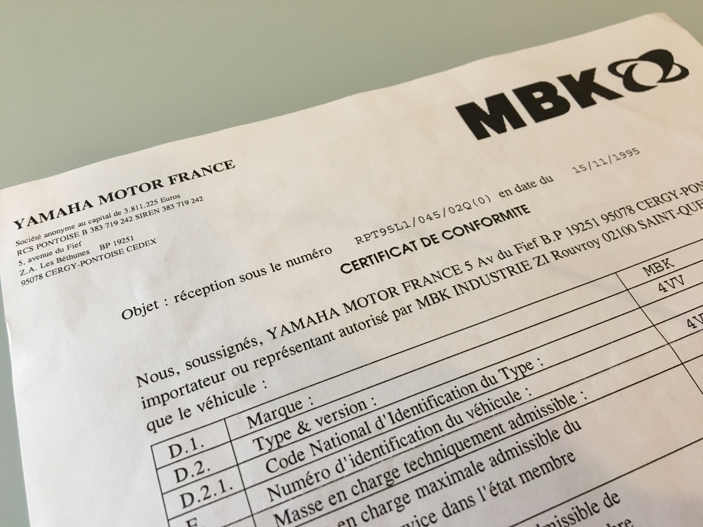 Duplicata du certificat de conformité