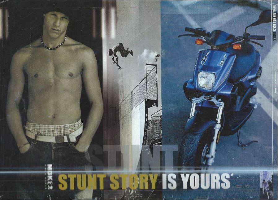 Publicité pour le MBK Stunt parue dans la presse scooter en 2000