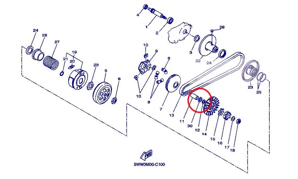 Bride (30) est une bague placée sur le canon entre la poulie ventilée et la joue mobile.