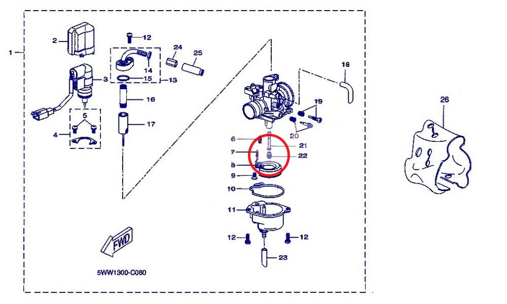Le gicleur principal est sur la partie haute du carburateur