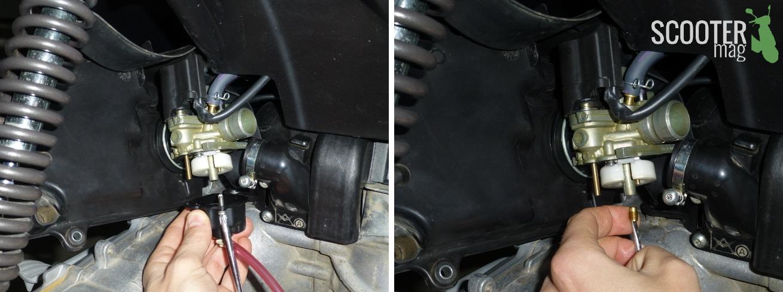 Le gicleur principal se situe sur la partie haute du carburateur