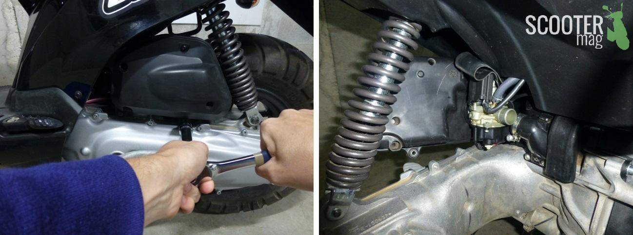 Désolidarisez la boîte à air puis dévissez le collier qui maintient le carburateur